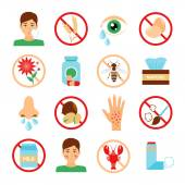 Allergy Icons Set — Stock Vector