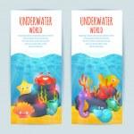 Underwater sea animals vertical banners set — Stock Vector #62545609