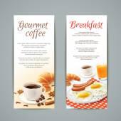 Breakfast Banners Set — Stock Vector