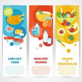 Healthy eating vertical banner set — Stock Vector