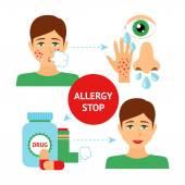 Allergy Prevention Concept — Stock Vector