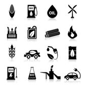 Bio Fuel Icons Black — Stok Vektör