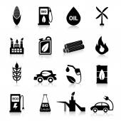 Bio Fuel Icons Black — Stock vektor
