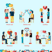 Relationship Concepts Set — Stock Vector