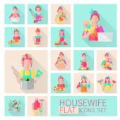 Housewife Flat Set — Stock Vector