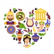 Greece symbols heart — Stock Vector #62627831