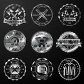 Racing emblems metallic — Stock Vector