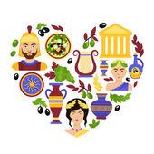 Greece symbols heart — Stock Vector