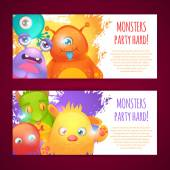 Monsters horizontal banners — Stock Vector