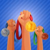 Winners hands holding medals — Stock Vector