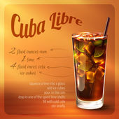 Cuba libre cocktail recipe — Stock Vector