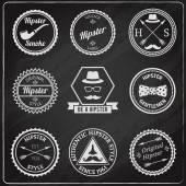 Hipster labels chalkboard — Vector de stock
