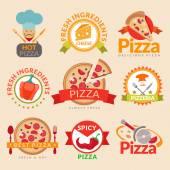 Pizzeria labels set — Stock Vector
