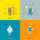 Profession characters 4x4 icons composition flat — Stock Vector
