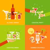 Alcohol Cocktails Icons Flat — Stock Vector