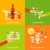 Alcohol Cocktails Icons Flat — ストックベクタ