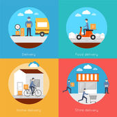 Delivery icons flat set — Stock Vector