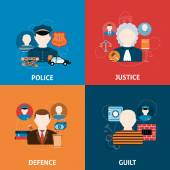 Crime and punishments flat icons composition — Stock Vector