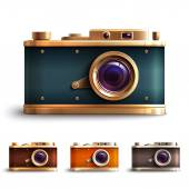 Retro Style Camera Set — Stock Vector