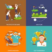 Golf flat set — Vetor de Stock