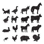 Farm animals black silhouettes — Stock Vector