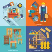 Carpentry flat set — Stockvector