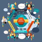 Social Network Infographics — Stock Vector