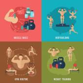 Bodybuilding Flat Set — Stock Vector