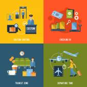 Airport Icons Flat — Stock Vector