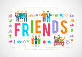 Friends Icons Flat — Stock Vector