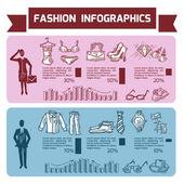 Fashion Infographics Set — Stock Vector