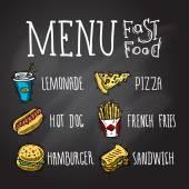 Fast Food Chalkboard — Stock Vector