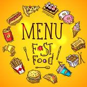 Fast Food Menu — Stock Vector
