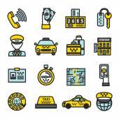 Taxi Icon Set — Stock Vector