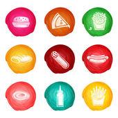 Fast Food Watercolor Set — Stock Vector