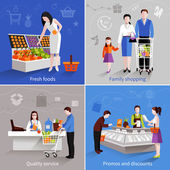 Supermarket People Set — Stock Vector
