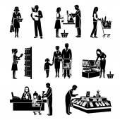 Supermarket People Black — Stock Vector