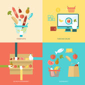 Supermarket Flat Set — Stock Vector