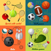 Sports 4 flat icons composition — Stock Vector