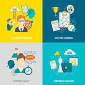 Coaching Business Flat — Stock Vector