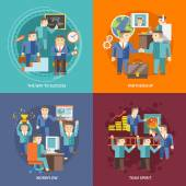 Businessman Working Flat — Stock Vector