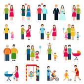Family Figures Icons — Stock Vector
