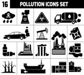Pollution Icons Black — Stock Vector