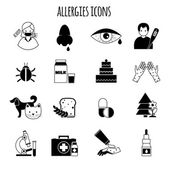 Allergies Icons Black — Stock Vector