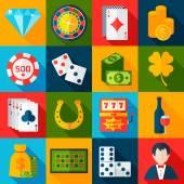 Casino Flat Icons — Stok Vektör
