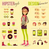 Hipster Girl Set — Vector de stock