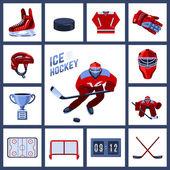Hockey Icon Set — Stock Vector