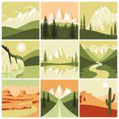 Nature Mountain Icons — Stock Vector