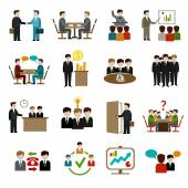 Meeting Icons Set — Stock Vector