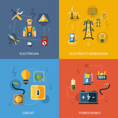 Electricity Flat Set — Stockvector